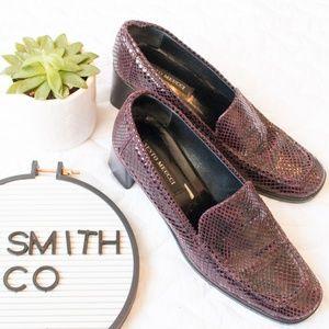 Sesto Meucci   Maroon Snake Texture Loafer Heels